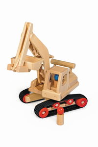 Bagger lenkbar wunderschönes Holzpielzeug aus natürlichem Buchenholz mit 2 Püppchen   - Fagus® Holzspielwaren