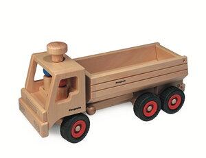 Muldenkipper- LKW lenkbar wunderschönes Holzpielzeug aus natürlichem Buchenholz mit 2 Püppchen   - Fagus® Holzspielwaren