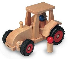 Schlepper, Traktor lenkbar wunderschönes Holzpielzeug aus natürlichem Buchenholz mit 2 Püppchen   - Fagus® Holzspielwaren