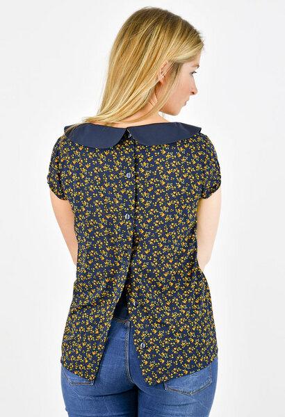 blaue kurzarm bluse mit muster knopfleiste und bubikragen. Black Bedroom Furniture Sets. Home Design Ideas