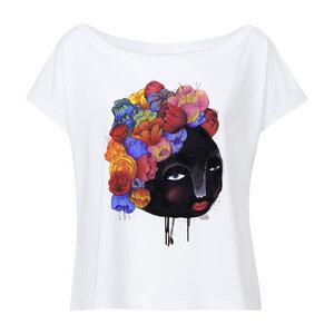 Yackfou Blumenhaar Damen Oversized Cropped T-Shirt white Bio & Fair - Yackfou