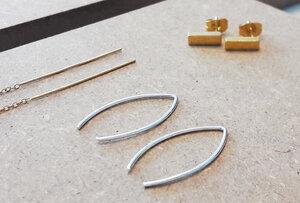 Puristischer Ohrring Bügel aus 925er Sterling Silber  - LUXAA