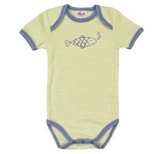 Baby Body Kurzarm grün geringelt Bio Baumwolle - People Wear Organic