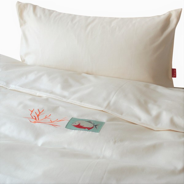 ia io bettw sche 2tlg set 135x200 kissenbezug piranha koralle biobaumwoll satin kba. Black Bedroom Furniture Sets. Home Design Ideas