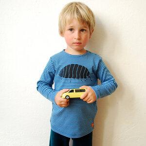 Kinder longsleeve Greta Assel gestreift (hellblau/petrol) - Cmig