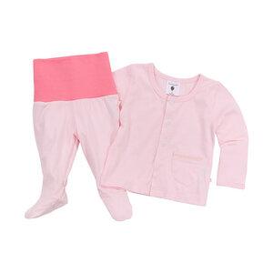 Set Baby-Hose mit Fuß und Baby-Jäckchen, rosa, 100% Biobaumwolle - luftagoon