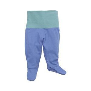 Baby-Hose mit Fuß und Bund, blau/aqua, 100% Biobaumwolle - luftagoon