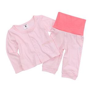 Set Baby-Leggin mit breitem Bund und Baby-Jäckchen, rosa, 100% Biobaumwolle - luftagoon