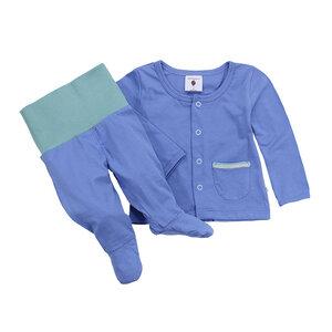 Set Baby-Hose mit Fuß und Baby-Jäckchen, blau, 100% Biobaumwolle - luftagoon