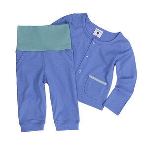 Set Baby-Hose mit breitem Bund und Baby-Jäckchen, blau - luftagoon