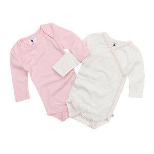 Set langarm Babybodies rosa und weiß mit rosa Zierband - luftagoon