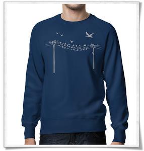 Vögel auf Strommast  Sweatshirt für Männer in Dunkelblau / Navy - Picopoc
