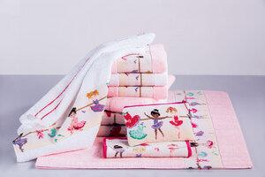 Kinder-Duschtuch Ballerina Border rosa oder weiss 60x120cm  lieferbar für kleine Mädchen wunderschön - Feiler Germany