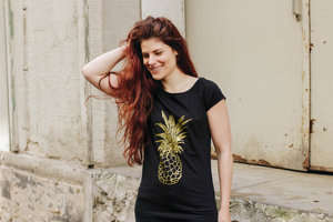Goldene Ananas Cap Sleeve Shirt Bio & Fair Trade _Black - ilovemixtapes