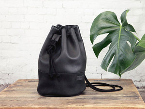 pikfine Eco Leder Bucket Bag 'Manoo' // schwarz - pikfine