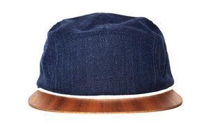 Cap Leinen blau mit edlem Holzschild - Made in Germany - Sehr bequem - Lou-i