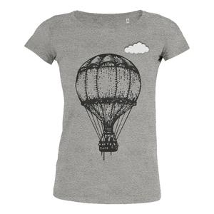 Heißluftballon mit Wolke - T-Shirt Damen mit Holzbrosche - What about Tee