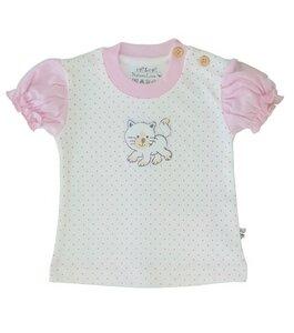 Baby T-Shirt natur mit rosa Tupfen Bio Baumwolle EBi & EBi - EBi & EBi
