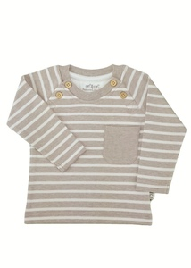 Baby Langarm Shirt beige melange Bio Baumwolle - EBi & EBi