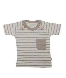 Baby T- Shirt beige melange geringelt Bio Baumwolle - EBi & EBi