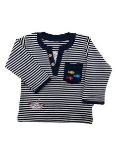 Baby Langarm Shirt marine weiß Bio Baumwolle - EBi & EBi