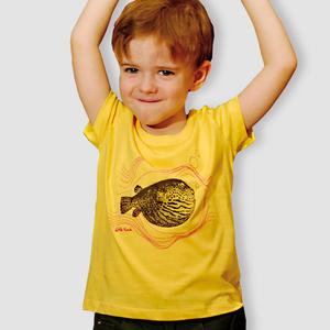 Kinder T-Shirt, 'Kugelfisch', Maiz Yellow - little kiwi