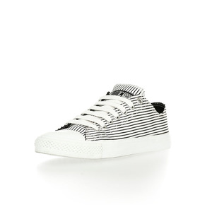 Fair Trainer  Lo Cut Collection White with Black Pinstripes|Just White - Ethletic