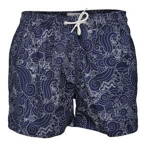 Swim Shorts W/ Waste Print - GRS - Peacoat - KnowledgeCotton Apparel