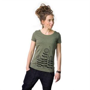 Damen T-Shirt Waldblumen in tannengrün meliert - Cmig