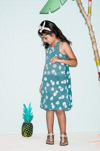 Kleidchen aus Bio Baumwoll Musselin - bedruckt mit Ananas - Pünktchen Komma Strich
