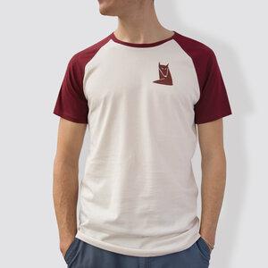 "Herren T-Shirt, ""Fuchs"", Burgundy/White - little kiwi"