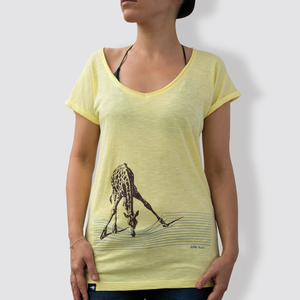 "Damen T-Shirt, ""In der Savanne"", Iris Yellow - little kiwi"