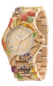 Holz-Armbanduhr DATE FLOWER BEIGE | 100% hautverträglich - Wewood