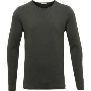Two Toned Round Neck Knit - Forrest Green - KnowledgeCotton Apparel