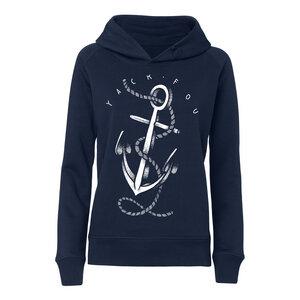 Yackfou Anker Damen Kapuzensweatshirt navy Bio & Fair - Yackfou
