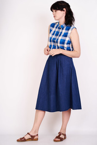 Eloise Sleeveless Checked Shirt  - bibico