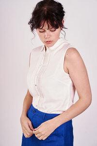 Classic White Sleeveless Shirt  - bibico