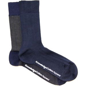 Fine Zig Zag Sock 2Pack - Forest Night - KnowledgeCotton Apparel
