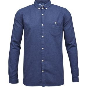 Melange Effect Flannel Shirt - Estate Blue  - KnowledgeCotton Apparel