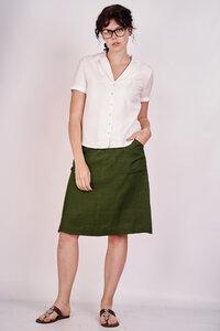 Ella Khaki Linen Skirt  - bibico