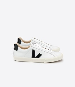 ESPLAR LOW LOGO LEATHER EXTRA WHITE BLACK  - Veja