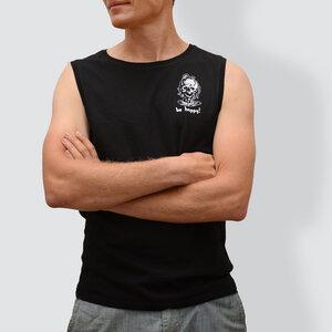 Herren T-Shirt ohne Ärmel, Be happy!, Schwarz - little kiwi