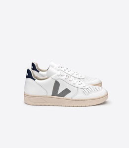 V-10 LEATHER - EXTRA WHITE OXFORD GREY - Veja