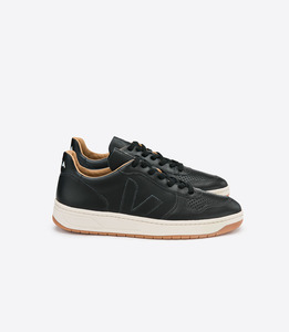 V-10 BASTILLE LEATHER BLACK NATURAL OUTSOLE  - Veja