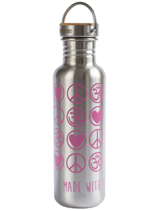 Yoga Trinkflasche Edelstahl Love Peace Om 800 ml silber pink bambus - YogiCompany