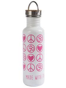 Yoga Trinkflasche Edelstahl Love Peace Om 800 ml weiß pink bambus - YogiCompany