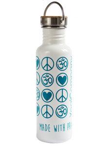 Yoga Trinkflasche Edelstahl Love Peace Om 800 ml weiß petrol bambus - YogiCompany