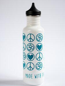 Yoga Trinkflasche Edelstahl Love Peace Om 800 ml weiß petrol - YogiCompany