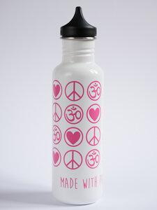 Yoga Trinkflasche Edelstahl Love Peace Om 800 ml weiß pink - YogiCompany