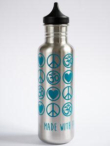 Yoga Trinkflasche Edelstahl Love Peace Om 800 ml silber petrol - YogiCompany
